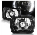 7″x6″ Diamond Cut Black Housing H6054 Sealed Replacement White LED Headlight Lamps