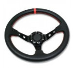 Auto Dynasty 320mm Aluminum Deep Dish Racing Steering Wheel Black Center Spoke