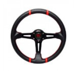 350mm RS TYPE Black Carbon Style Steering Wheel with Red Stitching