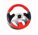 Universal JDM Dual NOS Button Red PVC Leather 6 Hole Steering Wheel