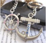 Couple Love Keychain Key Ring Anchor & Wheel