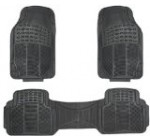 Zone Tech Set of 3-Piece Car Vehicle Floor Mat – Universal Fit,All-Weather Rubber Material, Black Color