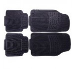 Adeco [FL0117] Set of 4-Piece Car Vehicle Floor Mat – Universal Fit,All-Weather Rubber Material, Black Color