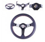 SPPC 350MM Black Steering Wheel W/Red Stitch, 3 Black Spoke (P.V.C. Leather)