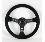 NRG Steering Wheel – 06 (Deep Dish) – 350mm (13.78 inches) – Black Suede with Black Spokes – Part # ST-006S