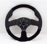 NRG Steering Wheel – 12 (Race) – 320mm (12.60 inches) – Black Leather / Black Suede with Red Stitching – Part # ST-012R/S Reviews