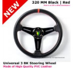 Universal 320MM Black Red Stitch 3 Spoke JDM Badge Steering Wheel