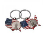 2x US Map American Flag Keychain NY Landmark US Patriotic Souvenir Gift-Set of 2