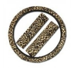 Premium Cheetah Steering Wheel Cover with Shoulder Pad