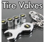 Chevy Tire Valve Caps with Bonus Wrench Keychain