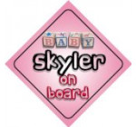 Baby Girl Skyler on board novelty car sign gift / present for new child / newborn baby