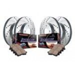 Power Stop K2798 Front/Rear Ceramic Brake Pad and Cross Drilled/Slotted Combo Rotor One-Click Brake Kit