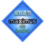 Baby Boy Maximus on board novelty car sign gift / present for new child / newborn baby