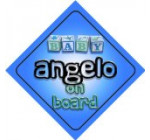 Baby Boy Angelo on board novelty car sign gift / present for new child / newborn baby Reviews