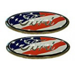 Muzzys (SET OF TWO) FORD F150 American Flag Grille or Tailgate Emblem 2005-14, Oval 9″ X 3.5″, 3 Mounting Tabs, Front Grill Badge Medallion Name Plate, Also 05-07 F250 F350, 11-14 Edge, 11-16 Explorer