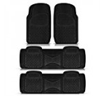 New Semi Custom Heavy Dutty Black 4pc Front & Rear Rubber Mats For Car Van Trucks Suvs Set Universal