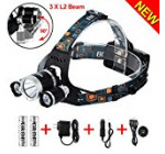 5000 Lumens Max Headlamp, Grde® 3 LED 4 Modes headlight, Hands-free water-resistant Flashlight, Power Bank, Rechargeable Led headlamp for Outdoor Sports with 2 Lithium Batteries (RJ5000)