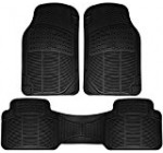 OxGord Universal Fit 3-Piece Full Set Ridged Heavy Duty Rubber Floor Mat – (Black)