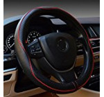 Rueesh Steering Wheel Cover – Genuine Leather, Heavy Duty, Thick, Elegant, Anti-Slip, 15 inch Middle Size – Black & Red Line