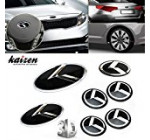 Kaizen 7pcs K Speed Emblem Badge Set (double-side tape on the back for Kia Optima (K5) front grille, rear trunk, steering wheel and four rims) For Kia K5 Color Black