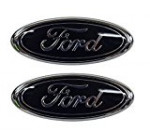 Muzzys (SET OF TWO) FORD 05-14 F150 Black Front Grille AND Tailgate Emblem Set, Oval 9″ X 3.5″, 3 Mounting Tabs, Grill Badge Medallion Name Plate, Also Fits 05-07 F250 F350, 11-14 Edge, 11-16 Explorer