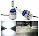 Alla Lighting Extremely Super Bright High Power CSP Chipset H11 H8 H9 H11LL H8LL LED Headlight Bulbs w/ 8000Lm 6500K Xenon White for Replacing Halogen Headlamp All-in-One Conversion Kits