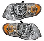 Driver and Passenger Headlights Headlamps Replacement for Chrysler Van with 119″ Wheel Base 4857991AD 4857990AD