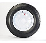 14″ White Mod Trailer Wheel with Bias ST205/75D14 Tire Mounted (5×4.5) bolt circle