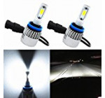 Alla Lighting 8000lm Xtremely Super Bright 6500K Xenon White High Power COB Mini H11 H8 H9 H11LL H8LL LED Headlight Conversion Kits Bulbs for Replacing Halogen Headlamp