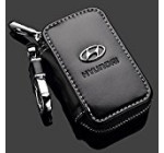 Black Premium Leather Car Key Chain Coin Holder Zipper Case Remote Wallet Bag (Hyundai)