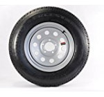 ST205/75R15 LRC 6 PR Rainier ST Radial Trailer Tire on 15″ 5 Lug Silver Mod Trailer Wheel