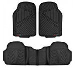 MotorTrend FlexTough Baseline – Heavy Duty Rubber Floor Mats, 100% Odorless & BPA Free (Black)
