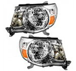 Driver and Passenger Headlights Headlamps with Chrome Bezels Replacement for Toyota Pickup Truck 8115004163 8111004163