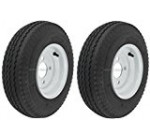 2-Pack Mounted Trailer Wheel & Tire #409 480-8 4.80-8 4.80×8″ LRB 4 Hole White