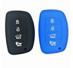 2Pcs Coolbestda Protective Silicone Key Cover Keyless Entry Remote Fob Shell for Hyundai Elantra Sonata Tucson I40 IX35 I45 Smart 4 Buttons 1x Black 1x Blue