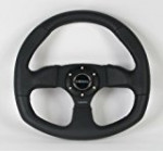 NRG Steering Wheel – 09 (Flat Bottom) – 320mm (12.60 inches) – Black Leather / Oval – Part # ST-009R