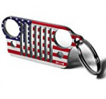 Jeep Grill Key Chain -The Flag Series Limited Edition! Made of Laser-Cut 304 Stainless Steel, Will Never Rust, Bend or Break! Built by Wrench & Bones (USA)