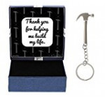 Fathers Day Gifts for Dad Thank You for Helping Me Build My Life Birthday Gifts for Dad Daughter Gifts Hammer Keychain & Gift Box Bundle