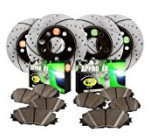 Approved Performance F15956 4WD 01 02 03 04 – [Front & Rear Kit] Performance Drilled/Slotted Brake Rotors and Carbon Fiber Pads