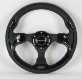 NRG Steering Wheel - 01 (Pilota) - 320mm (12.60 inches) - Black Leather with Black Spokes / Black Trim - Part # ST-001BK