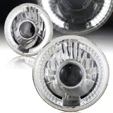 7″ Round H6024 Sealed Beam Replacement Chrome Housing LED Projector Headlight Lamps