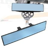 iJDMTOY Universal Fit JDM 300mm 12″ Wide Anti-Glare Blue Tint Flat Clip On Rear View Mirror For Car SUV Van Truck, etc