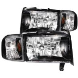 Anzo USA 111067 Dodge Ram Crystal Black with Corner Headlight Assembly – (Sold in Pairs)