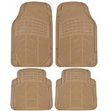 BDK 4pc Ridged Heavy Duty Rubber Floor Mats, Universal Fit, Beige