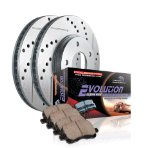 Power Stop K2009 Front Ceramic Brake Pad and Cross Drilled/Slotted Combo Rotor One-Click Brake Kit