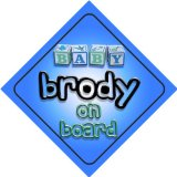 Baby Boy Brody on board novelty car sign gift / present for new child / newborn baby
