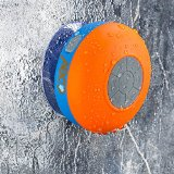 Abco Tech Water Resistant Wireless FM Radio Bluetooth Shower Speaker with Suction Cup and Hands-Free Speakerphone, Orange/Blue Reviews