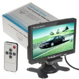7″ TFT LCD Color 2 Video Input Car RearView Headrest Monitor DVD VCR Monitor With Remote and Stand & Support Rotating The Screen