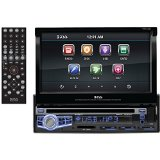 Boss Audio BV9973 – In-Dash, Single-Din, DVD/CD/MP3 Compatible AM/FM Receiver Featuring A Motorized 7″ Widescreen, Touchscreen, Digital, TFT Monitor