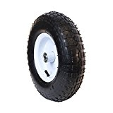 ALEKO WBAP13 Ribbed Pneumatic Welded Rim Replacement Wheel for Wheelbarrow 13 Inch Air FIlled Turf Tire for Hand Trucks and Lawn Carts, Black Tire White Rim